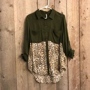 Free People leopard green tunic shirt M